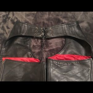 Pants - Women's black leather motorcycle chaps S EUC!